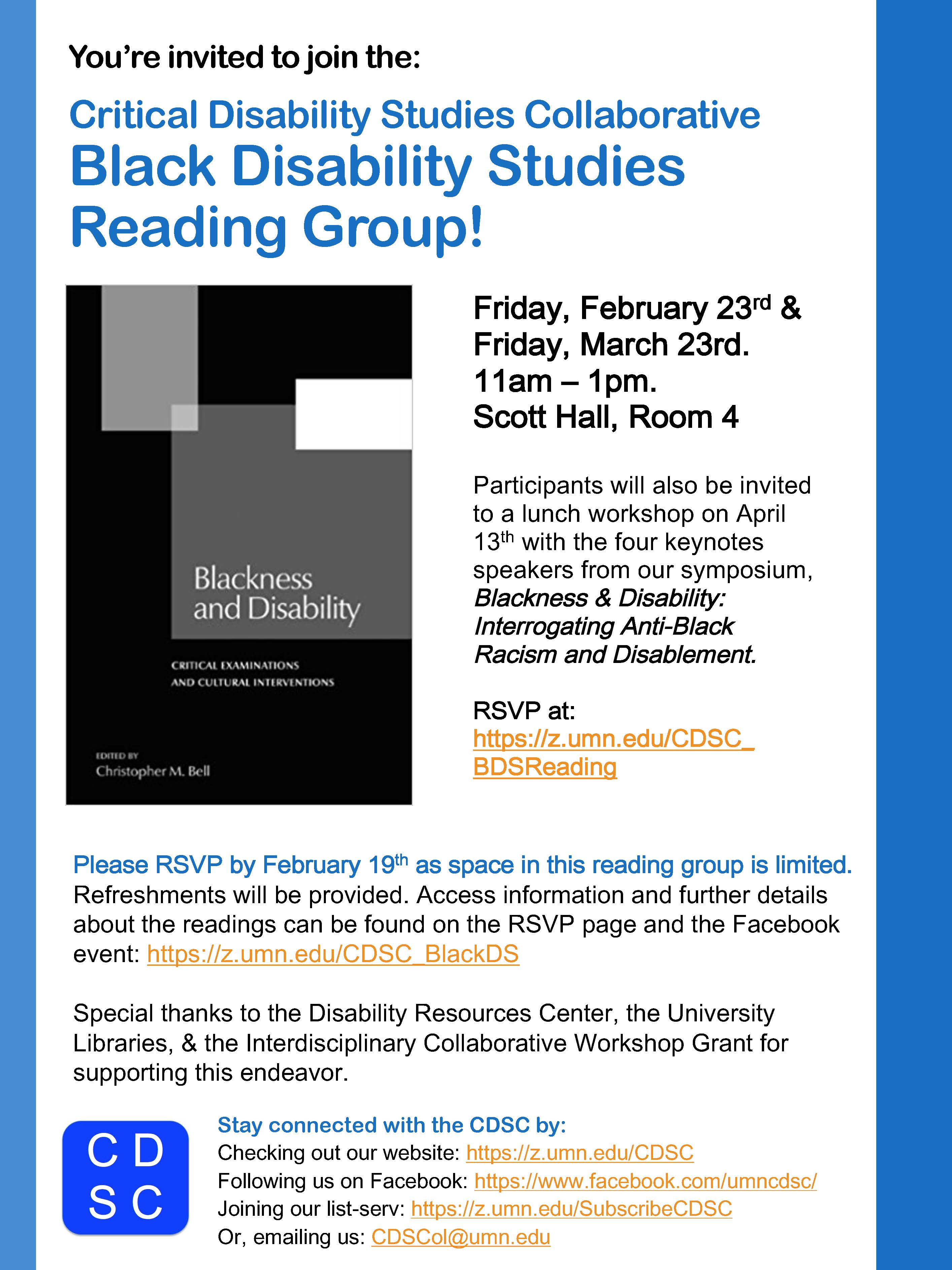 flyer for Black Disability Studies reading group