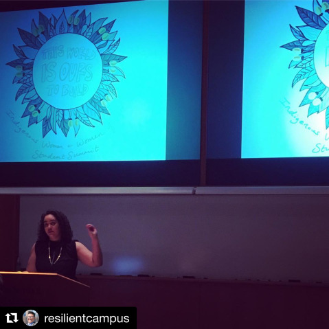 Autumn Brown delivers the keynote at the 2018 Indigenous Women and Women of Color Student Summit: This World is Ours to Build. Photo credit: @resilientcampus
