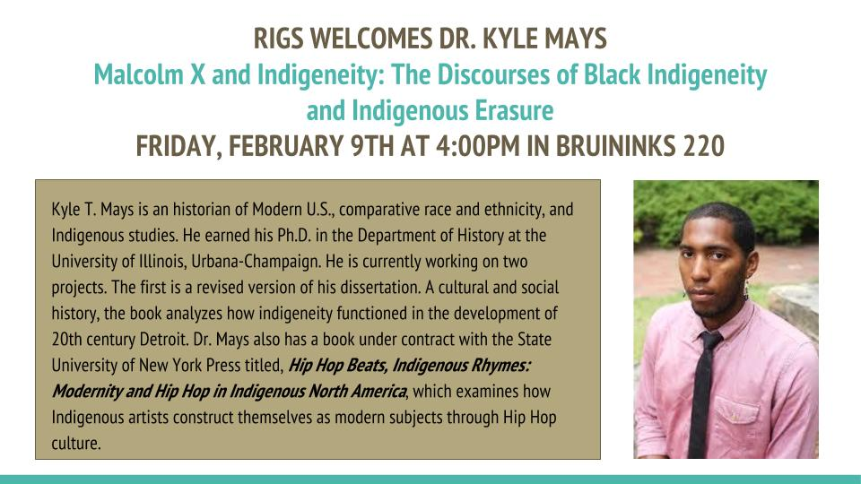 Flyer about the presentation of RIGS candidate Dr. Kyle Mays