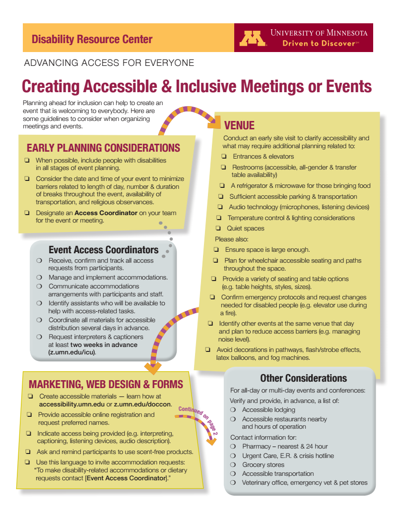 Creating Accessible & Inclusive Meetings or Events pamphlet