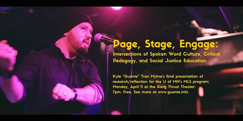 Banner: Page, Stage, Engage: Intersections of Spoken Word Culture, Critical Pedagogy, and Social Justice Education